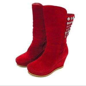 Red Suede Studded Charm Wedge Heel Boots